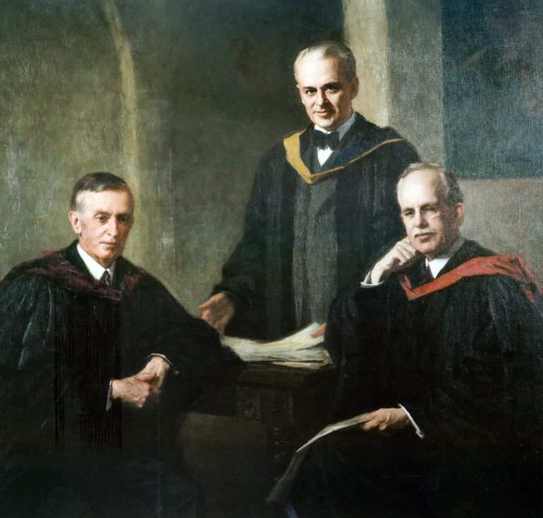 Portrait of Caltech co-founders (left to right) Arthur Amos Noyes, Robert Andrews Millikan, and George Ellery Hale, circa 1929, displayed in Caltech's Athenaeum