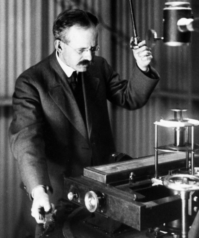 Hale at the spectrograph of his 60-foot solar tower on Mt. Wilson, where he discovered magnetic fields in the sun, the first found outside of Earth